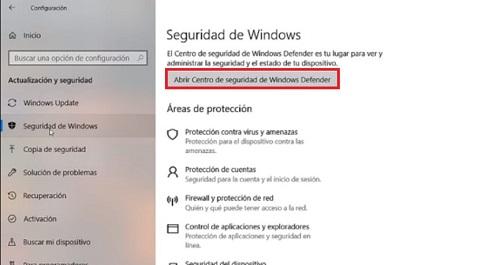 Activar Windows Defender en Windows 10 2