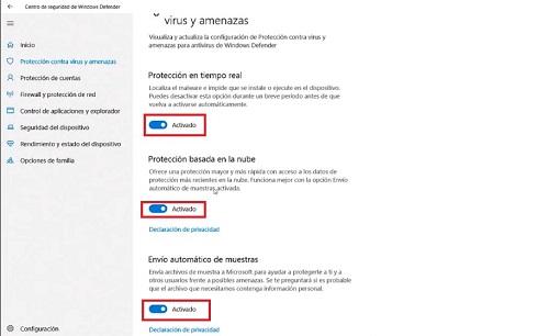 Activar Defender en Windows 10